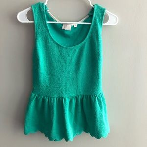 Anthropologie Green Scallop Detail Top Size Small